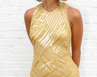Gold Sequined Long Gown