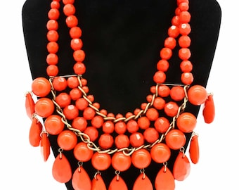 Coral Colored Beaded Necklace
