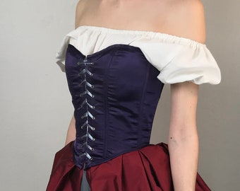9cade51528 Peasant Bodice Renaissance Corset in Purple Red Plum Dupionni