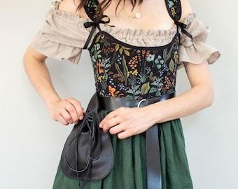 Belt Pouch | Drawstring Bag for Renaissance Faire, Medieval, Viking, LARP, Cosplay Costumes | Vegan Leather
