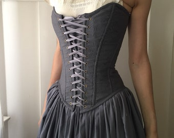 7de96f5252 Grey Overbust Corset with Front Lacing 21