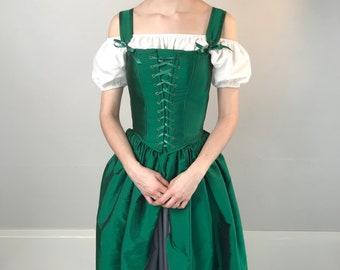 f6336c2755 Emerald Green Renaissance Corset Dress with Matching Gathered Skirt MADE TO  MEASURE