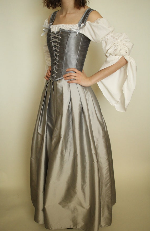 Image result for DUSTY GREY DUPION GOWN