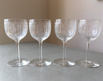 Exquisite Set Of 4x Antique Victorian Greek Key Engraved Sherry Or Liqueur Glasses