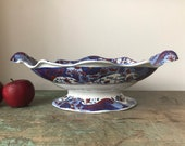 c1820 Antique Spode Imari Boat-shaped Pedestal Dish, Fruit Bowl 2635