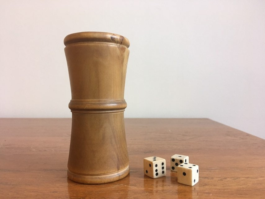 Antique Boxwood Treen Wooden Dice Shaker And Carved Dice