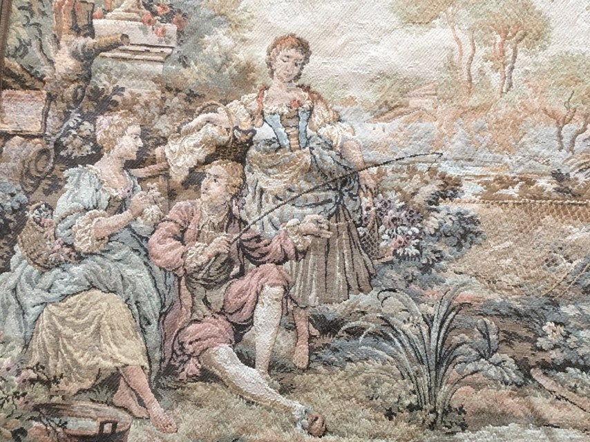 les gallantries  francois boucher  large vintage tapestry wall hanging