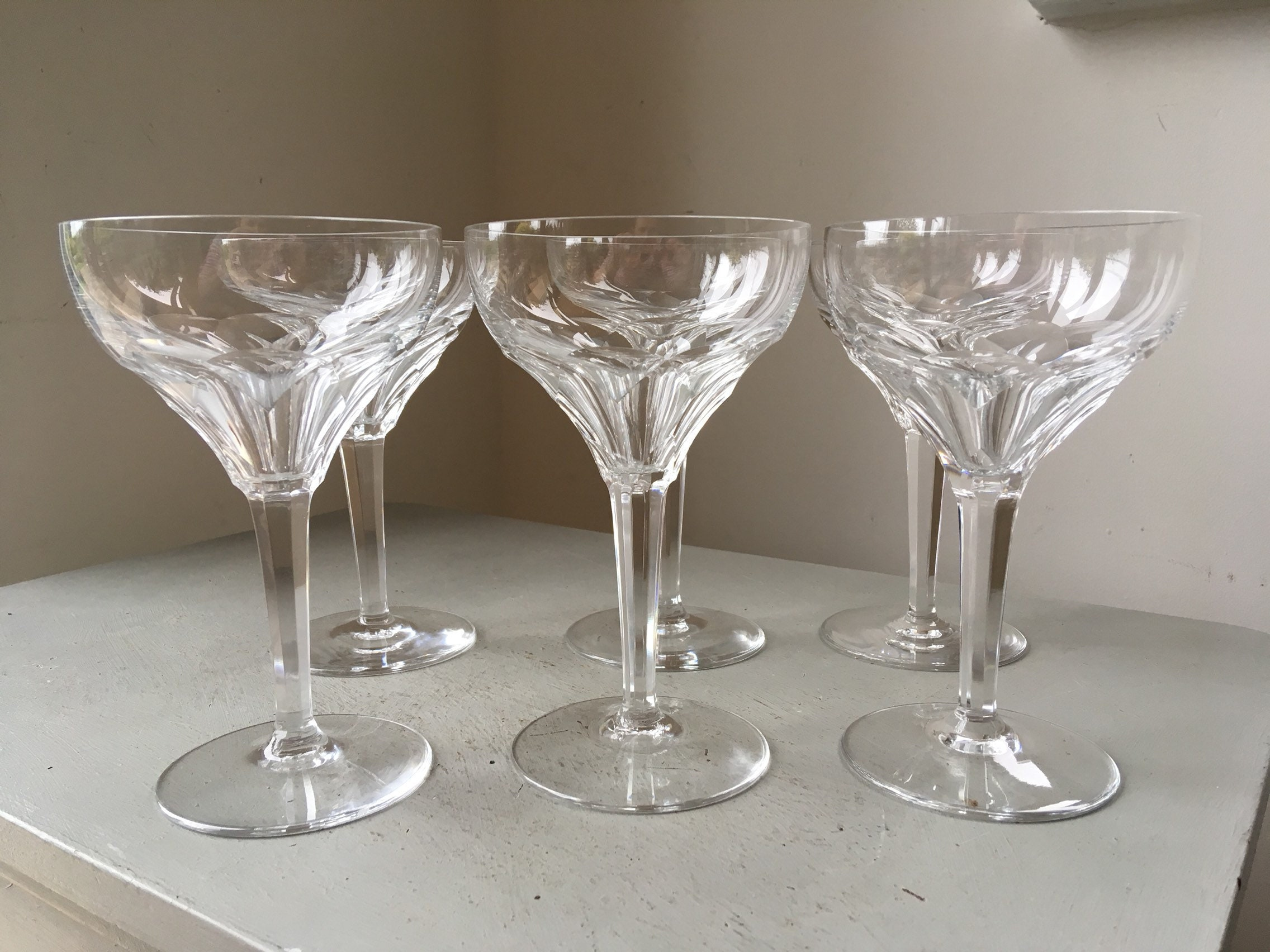 Set Of 6x C1930s Art Deco Era Cut Crystal Champagne Coupes Glasses