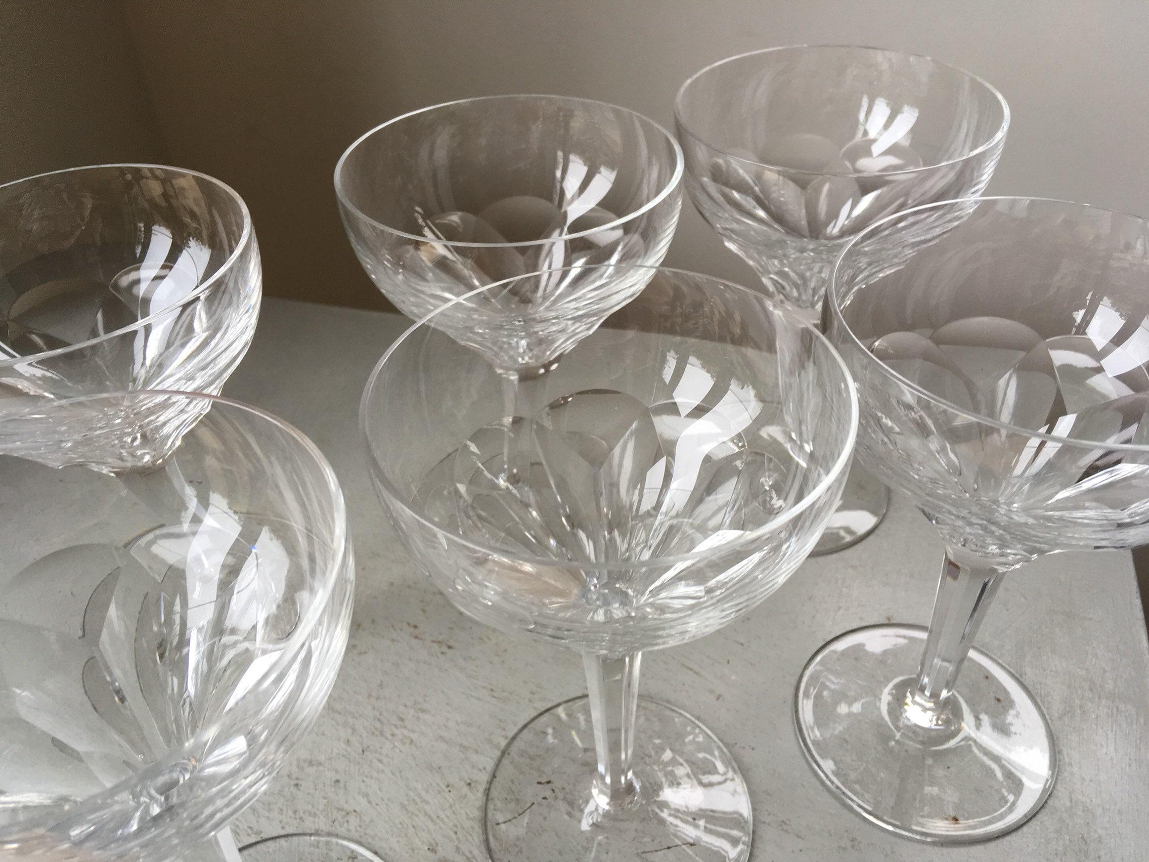 Set Of 6x C1930s Art Deco Era Cut Crystal Champagne Coupes Glasses