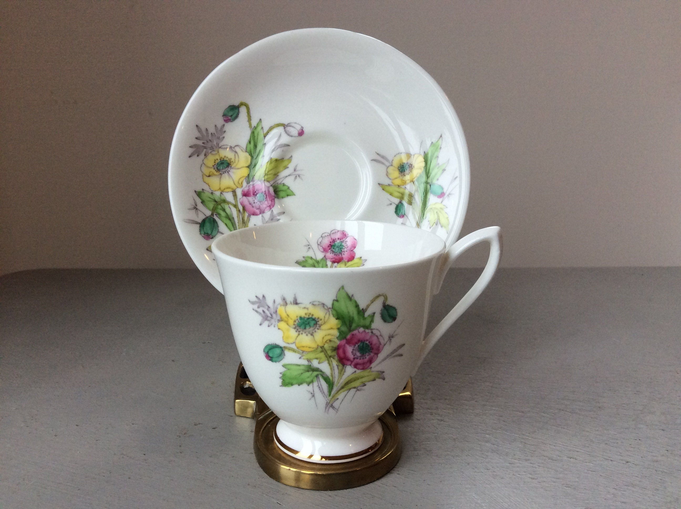 Vintage Royal Albert Flower Of The Month Tea Cup Saucer August