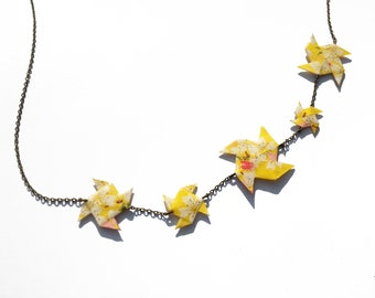 Necklace Origami Pinwheels Red