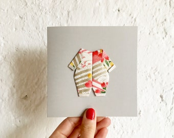 Origami birth card red golden