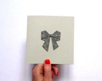 Origami bow card grey paper