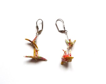 Origami Earrings Birds Dark Leaf
