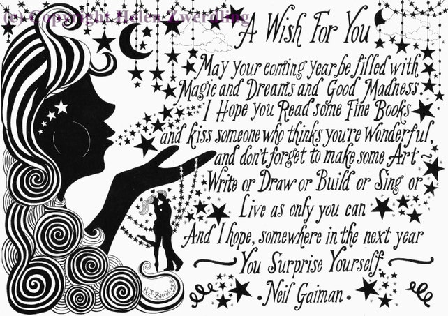 Neil Gaiman illustrated \'A Wish for You\' quote A | Etsy