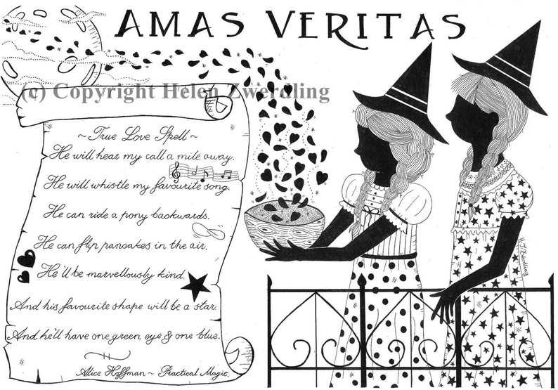 Practical Magic ~ 'Amas Veritas' ~ True Love Spell ~ a high quality, framed  A4 print of an original artwork by ©Helen Zwerdling