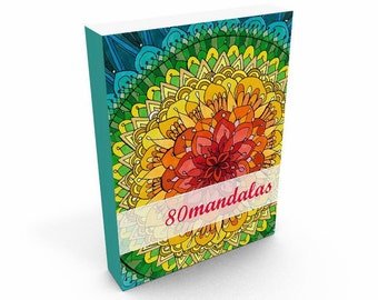 """Coloring Book """"80 Mandalas"""", book drawing, coloring book for adults, Printable Coloring Pages (instant download)"""