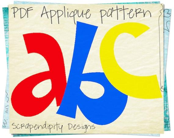 Alphabet applique pattern letters applique template kids etsy spiritdancerdesigns Gallery