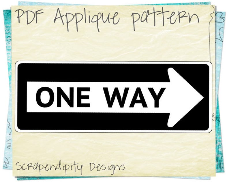 Transportation Quilt Template - One Way Applique Pattern / Road Sign Baby  Applique / Baby Quilt Pattern / Childrens Clothes Appliques AP49-D
