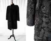 1930s-40s Merle Black Astrakhan Coat with Structured Shoulders 30s-40s Coat Vintage Fur Coat SIZE UK S-M
