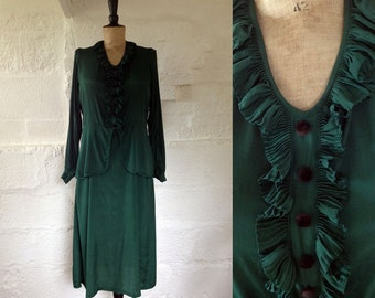 1930-40s Forest Green Peplum Dress / 30s 40s Green Dress / Vintage Green Dress / SIZE UK 12-14