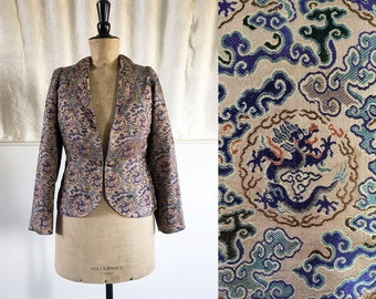 1930s-40s 'F L Sheppard' Chinese Silk Brocade Jacket with Blue Dragons / SIZE UK 8-10