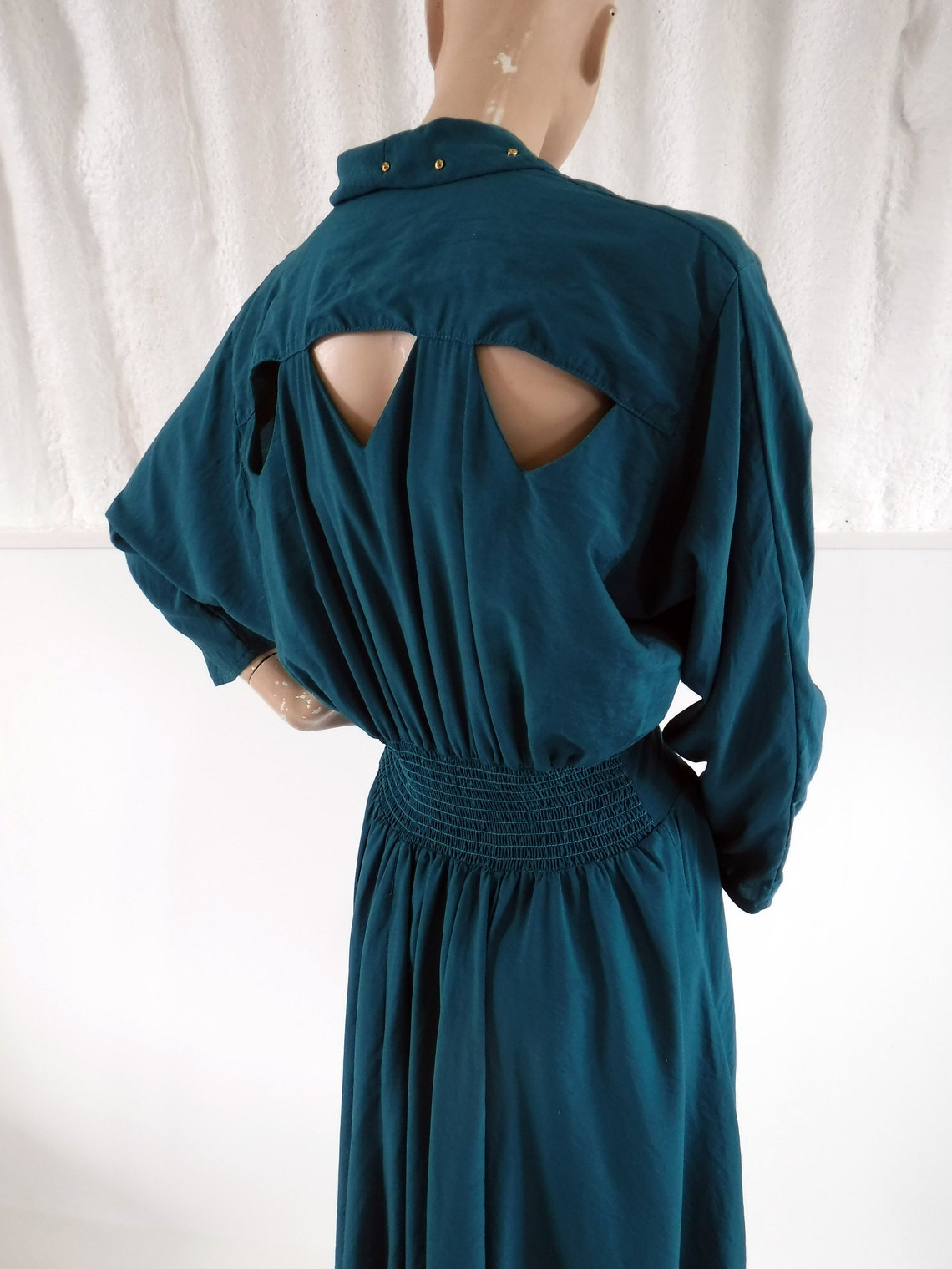1980s Unit Seven Green Dress with Gold Studded Collar &