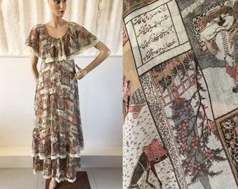 1970s 'John Charles' Persian Print Layered Prairie Dress with Lace Detail / 70s Maxi Dress / Vintage Dress / SIZE UK 8-10