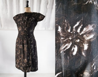 1960s 'Peggy Page London' Silk Floral Shift Dress with Drop Waist / 60s Day Dress / Vintage Dress / SIZE UK 12-14