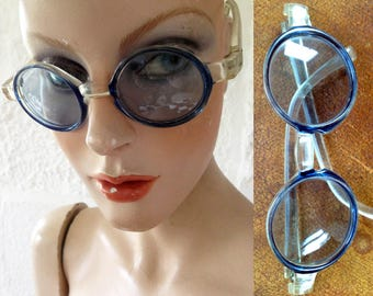 1960s Deco Darling Woodstock Clear Celluloid Sunglasses with Blue Lenses / 1960s Sun Glasses / Vintage Sun Glasses