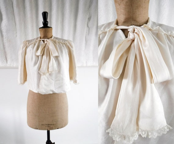 1930s-40s Cream Silk Satin Bed Jacket with Pussy B