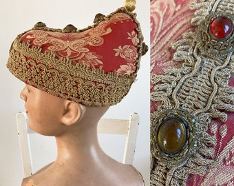"""Vintage Venetian Pink Brocade Carnival Pierrot Style Hat from 'L'Arlecchino' Costume Shop / 24"""" Inner Circumference"""