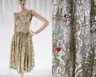 1950s Gold Lace Goddess Dress with Glass Jewels & Sequin Flowers / 50s Evening Dress / Vintage Party Dress / SIZE UK 8-10
