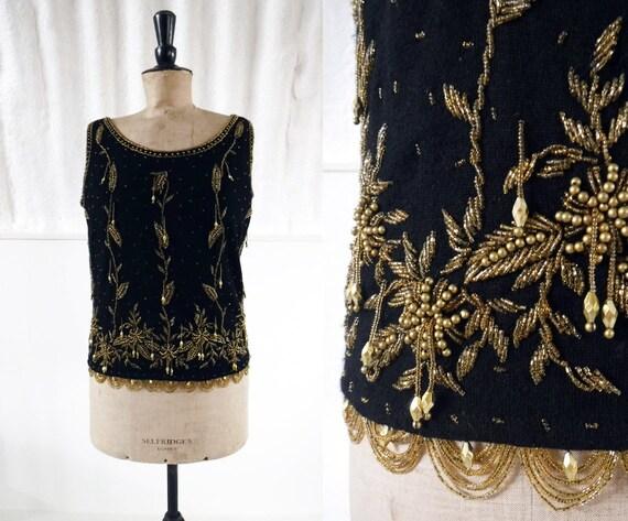 1960s 'Berkertex' Black & Gold Beaded Wool Evening