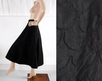 1940s-50s 'Selfridges' Black Taffeta Bias Cut New Look Skirt with Quilted Hem / 30s-40s Skirt / Vintage Evening Skirt / SIZE UK 10