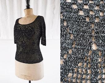 1970s Gothic Glamour Crochet Black & Silver Scoop Neck Top / 70s Evening Top / Vintage Crochet Top / SIZE UK S-M