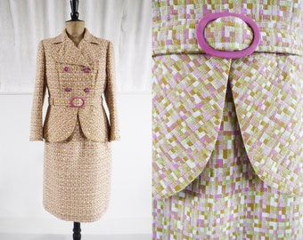 1960s 'Moneque' Irish Linen Tailored Suit in Pastel Tapestry Check / 60s Suit / Vintage Welsh Tapestry / SIZE UK 12