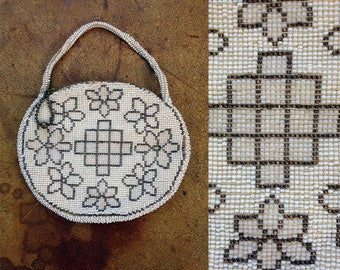 1920s-30s White & Silver Blossom Bead Flapper Bag / 20s-30s Beaded Bag / Vintage Purse