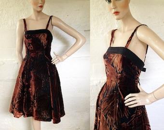 1950s 'Jean Allen' Velvet Devore Starlet Evening Dress with Net Petticoats / 50s Cocktail Dress / Vintage Party Dress / SIZE UK 8