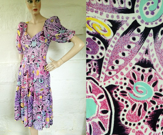 1980s 'Zandra Rhodes for Fifth Avenue' Pink & Purp