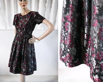 1950s Silver & Plum Blossom Brocade Party Dress / 50s Dress / Vintage Party Dress / SIZE UK 10-12