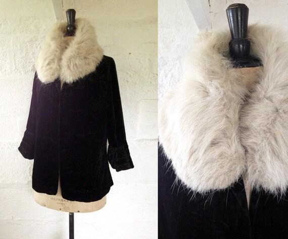 1920s-30s Black Velvet Evening Jacket with Structu