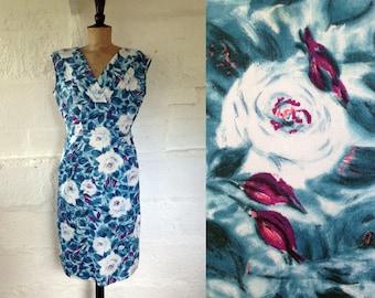 1950s Sophia Blue & White Rose Print Shift Dress / 50s Day Dress / Vintage Dress / SIZE UK 12-14