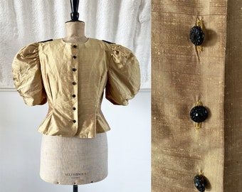 1980s 'Marion Donaldson' Gold Shantung Silk Blouse with Puffball Sleeves / SIZE UK 14