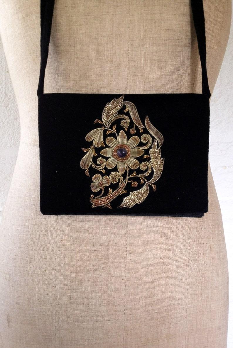 Vintage Amethyst Jewelled Zardosi Black Velvet Shoulder Bag with Blossom  Vintage Handbag  Vintage Zardozi Bag