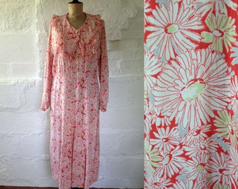 1930s Red Flower Print Day Dress with Frilled Collar / 30s Day Dress / Vintage Floral Print Dress / SIZE UK 16