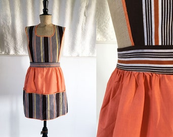 1940s-50s Peach & Chocolate Stripe Cotton Pinafore with Pocketed Skirt / SIZE UK S-M