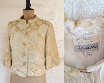 1960s 'Lord Taylor' Gold Evening Jacket / Vintage Oriental Evening Jacket / 60s Gold Brocade Jacket Size UK 8/10