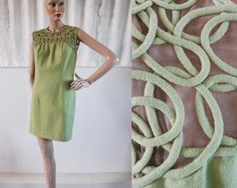 1960s 'I Magnin & Co' Pistachio Fine Wool Shift Dress with Net Soutache Style Detail / 60s I. Magnin / Vintage Shift Dress / SIZE UK 10