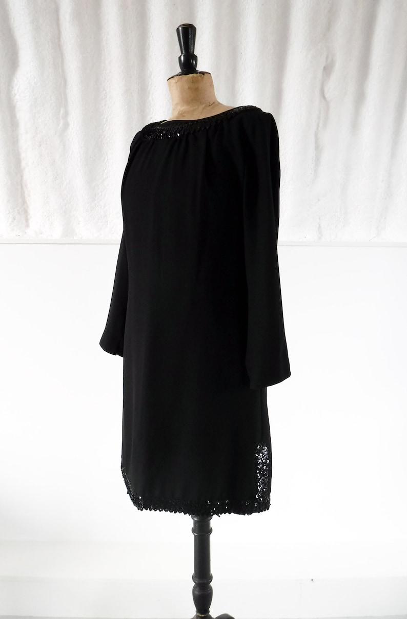 1960s \u2018Kitty Copeland\u2019 Black Tunic Evening Dress with Sequin Detail  60s Cocktail Dress  Vintage Party Dress  SIZE UK 14